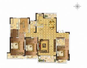 E户型-四室二厅三卫一厨-户型图