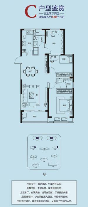 C-三室二厅二卫一厨-户型图