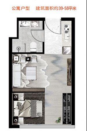 公寓户型-一室一厅一卫一厨-户型图
