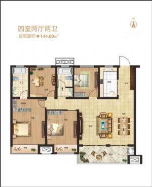 四室户型-四室二厅二卫一厨-户型图
