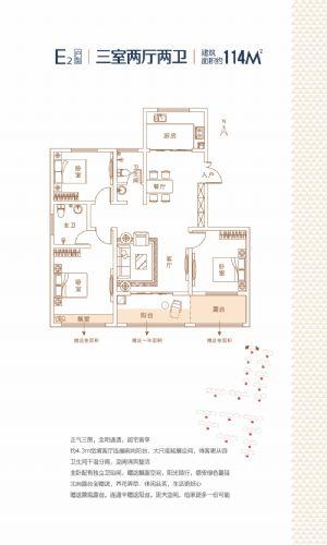 E2户型-三室二厅二卫一厨-户型图