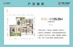 悦境-三室二厅二卫一厨-户型图