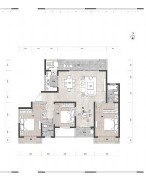 高层户型1-四室二厅二卫一厨-户型图
