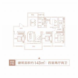 高层户型2-四室二厅二卫一厨-户型图