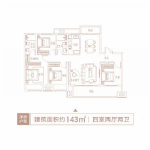 洋房户型-四室二厅二卫一厨-户型图