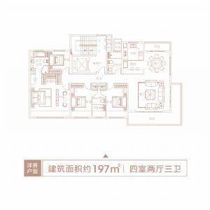 洋房户型2-四室二厅三卫一厨-户型图