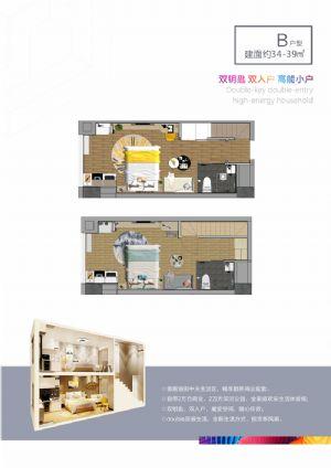 B户型-二室二厅二卫厨-户型图