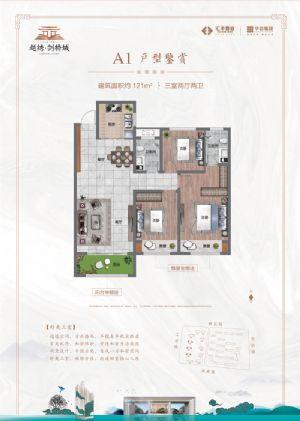 A1户型-三室二厅二卫厨-户型图