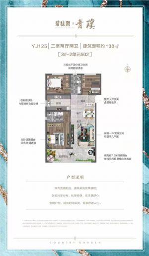 YJ125-三室二厅二卫一厨-户型图