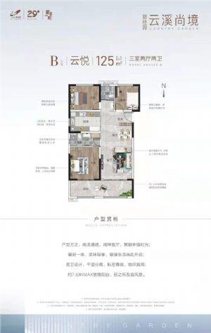 云悦-三室二厅二卫一厨-户型图