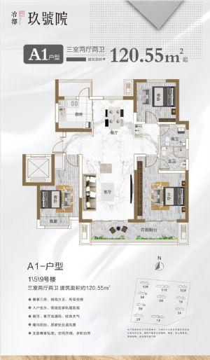 A1户型-三室二厅二卫一厨-户型图