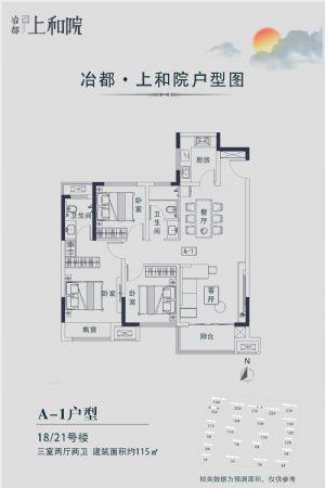 A―1户型-三室二厅二卫一厨-户型图
